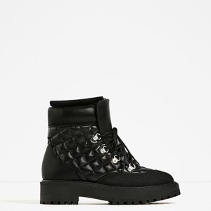 ZARA QUILTED BOOTS WITH FUR LINING - BRAND NEW